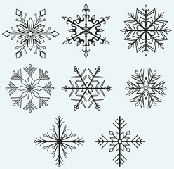 Snowflake winter isolated on blue background