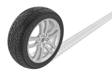 Car winter wheel. Track on ground.