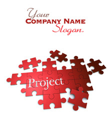 Project puzzle in red