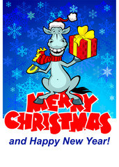 New year white horse with gift (blue background)