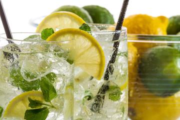 Closeup of cold lemon drink for summer