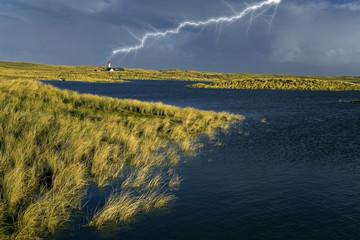 Fototapete - Sylt Gewitterstimmung mit Blitz