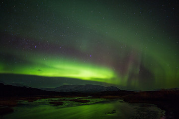Northern Lights above river in Iceland