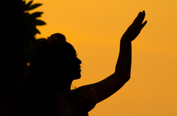 Hula Dancer Sunset Silhouette, Hawaii