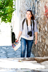 young and beautiful woman tourist
