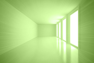 Bright green room with windows