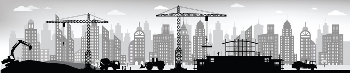 Making the new building in the city