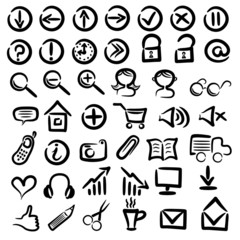 set of free hand web icons