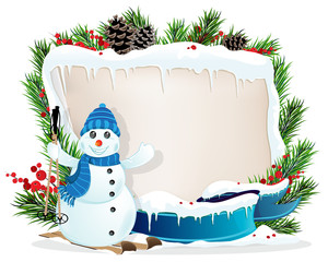 Funny Snowman and Christmas wreath
