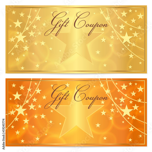 Gift Certificate Voucher Coupon Background Gold Stars Stock