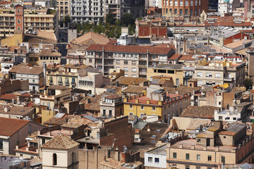 Spain. Catalonia. Girona. Old city center buildings.