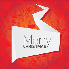 merry christmas background with white origami banner