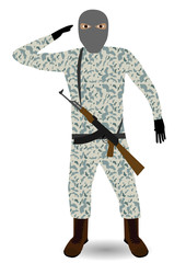 Young soldier with mask and rifle. Vector illustration EPS-10.