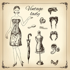 Vintage lady and her toilet articles, hand drawing, illustration