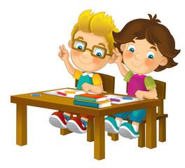 Cartoon children sitting - learning
