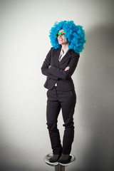 funny blue wig beautiful young businesswoman