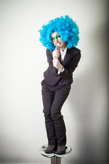 funny blu wig beautiful young businesswoman