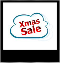 xmas sale word cloud on photo frame, isolated
