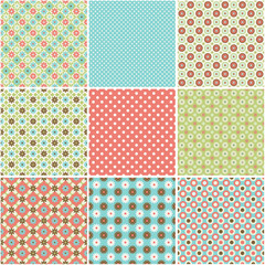 Set of abstract vector seamless patterns background with flowers