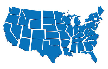 blue map of USA- concept of disintegration, secession