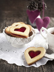 Heart shaped cookie with jam