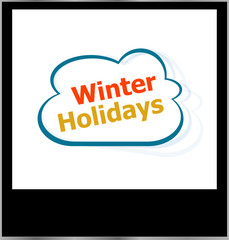 winter holidays word cloud on photo frame, isolated