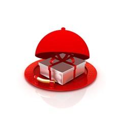 Illustration of a luxury gift on restaurant cloche
