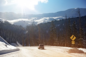 Wall Mural - Winter Mountains Drive