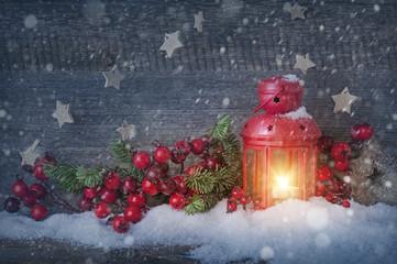 Burning christmas lantern