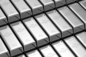 Stack of Silver Bars in the Bank Vault