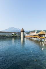 Luzern, Altstadt, Kapellbrücke, Reuss, Pilatus, Schweiz
