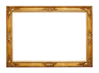 Ornamented, very old, gold plated empty picture frame
