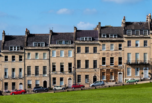 Houses overlooking a park in Bath, UK