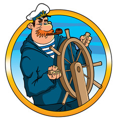 captain helmsman sailor at the helm steering wheel