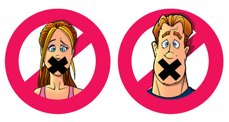 funny man and woman with taped mouth