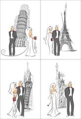 Свадебные приглашения, векторный фон