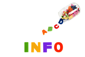 Info written in multicolored plastic kids letters and colorful s
