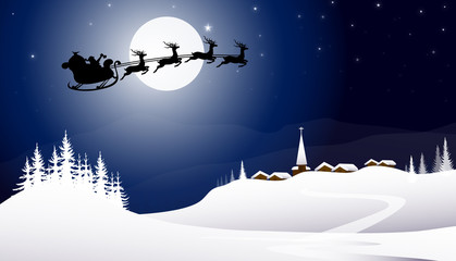 Sledge with Santa Claus at Winter Night-vector