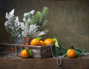 Christmas vintage still life with tangerines