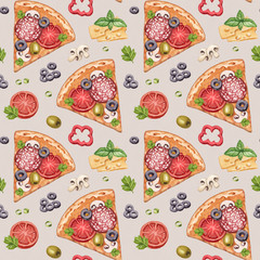 Seamless pattern with watercolor pizza illustrations