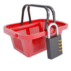 Combination lock and shopping basket