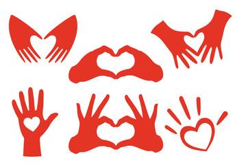 red hand heart set, vector