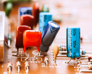 capacitors, resistors and other electronic components mounted on