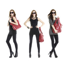 young fashion mode in sunglasses with handbag