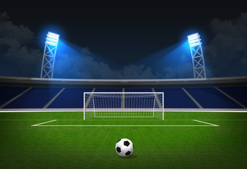 Soccer stadium, soccer ball on green stadium, arena in night ill