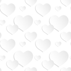 Seamless background of white paper hearts