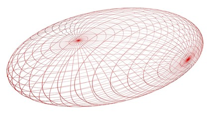 Red wireframe ovoid - Mathematical object