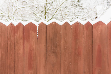Old Wooden Fence In A Snow