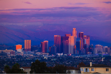 Fototapete - Los Angeles city skyline at sunset