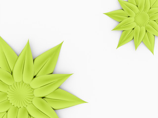 Two green rose flower on white